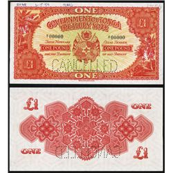 Government of Tonga, ND (1951) Issue Specimen Banknote.