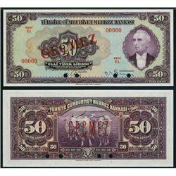 Central Bank of Turkey, 1930 Issue Specimen Banknote.