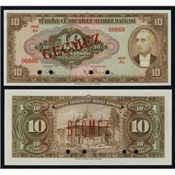 Central Bank of Turkey, 1948 Issue Specimen.