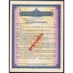 Banque Ottoman Letter of Credit Specimen.