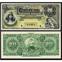 Banco Caracas, 19xx (ca.1926-28) Regular Issue Specimen.