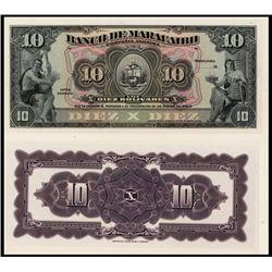 Banco De Maracaibo1925-26 Issue Proof Banknote.