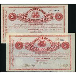 Credito Publico Deuda Consolidada, 1875 & 1876 Dated Pair.