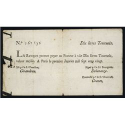 La Banque (Royale), January 1, 1720, John Law Paper Currency Note.