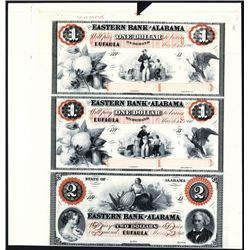 Eastern Bank of Alabama Uncut Proprietary Proof Sheet Banknote Trio.