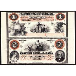 Eastern Bank of Alabama Uncut Proprietary Proof Sheet Banknote Pair