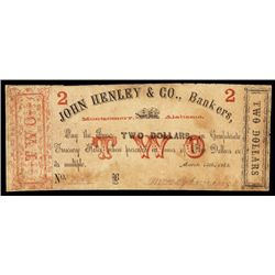 John Henley & Co., Bankers, 1862 Obsolete Banknote Payable on Confederate Notes.