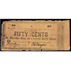 M. Mayers, Redeemable in Arkansas and Texas 1862 Obsolete Scrip Note.