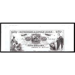 Cincinnati & Little Rock Slate Co. $50 Proprietary Proof Banknote