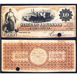 State of Arkansas $10 Obsolete, 187x, Issued.