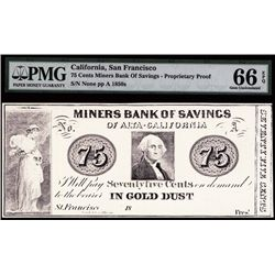 Miners Bank of Savings of Alta, California, Proprietary Proof, Payable in Gold Dust.