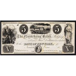 Quinebaug Bank 1830-40's Unlisted Obsolete Proof Series Banknote.