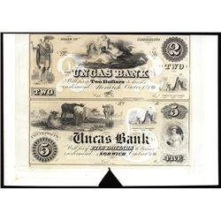 Uncas Bank $2-$5 Uncut Proprietary Proof Sheet Banknote Pair