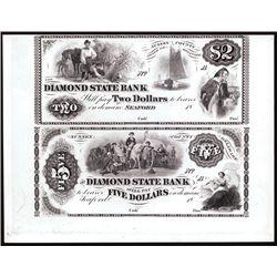 Diamond State Bank, $2-$5 Uncut Proprietary Proof Sheet Banknote Pair