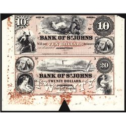 Bank of St. John $10 & $20 Uncut Sheet of 2 Red Tinted Proprietary Proofs.