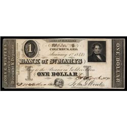 Bank of St. Mary's 1843 Issue Obsolete Banknote.