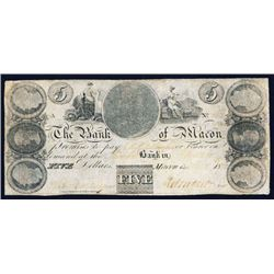 Bank of Macon, $5 Obsolete Banknote.
