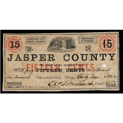 Jasper County, By Order of the Inferior Court, 1862 Obsolete Scrip Note.