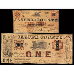 Jasper County, By Order of the Inferior Court, 1862 Obsolete Scrip Note Pair.