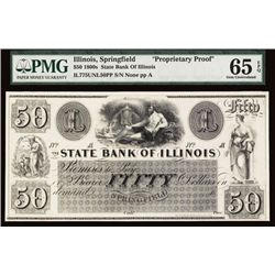 State Bank of Illinois $50 Proprietary Proof.