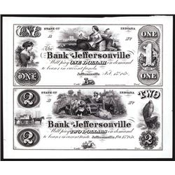 Bank of Jeffersonville Uncut Sheet of 2 Proprietary Proofs.