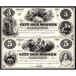 City of Des Moines, Uncut Sheet of 2 Proprietary Proofs.