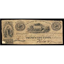 New Orleans, Municipality No.Two, 1839 Obsolete Scrip Note.