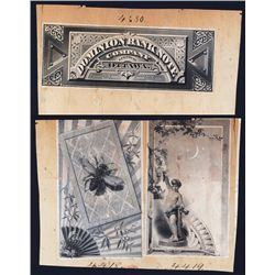 Dominion Bank Note Co. of Canada (ca.1860-70) Security Printer Calendar Header Proof Vignette.