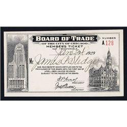 Chicago Board of Trade Members Ticket for 1929.