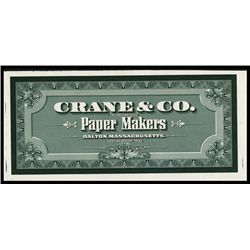 Crane & Co. Paper Makers Advertising Label Used on Their Product Packages.