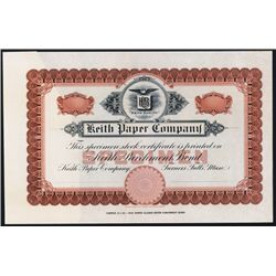 Keith Paper Co. Stock Certificate Sample.