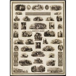 New England Bank Note Co. ND (ca.1830's) Advertising Vignette Proof Sheet.