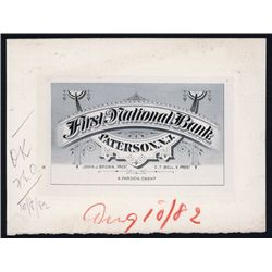 First National Bank, Paterson, N.J. Approval Proof Business Card by ABNC.