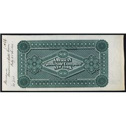 American Bank Note Company, 1882 Advertising Color Sample.
