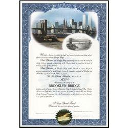 Brooklyn Bridge Centennial Certificate Group of 8.