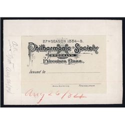 Brooklyn Philharmonic, 1884 Director's Pass Proof by ABNC.