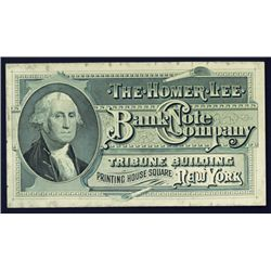 Homer Lee Bank Note Co. Advertising Label or Card.
