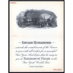 NY World's Fair Invitation With 1871 Engraved Railroad Vignette.