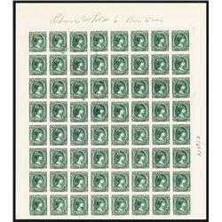 Postage Stamp ÒExperiment SpecimenÓ Uncut Sheet of 64 Stamp Proofs or Specimens.