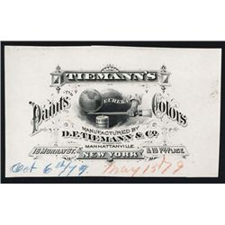 Tiemann's Paints Colors Business Card or Bill Head Proof.