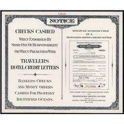 Travelers Hotel Credit Letter Specimen Promotional Piece.