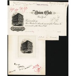 Union Club of New York Approval Vignette Proof and Club Entrance Fee Receipt Proof.