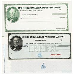 Mellon National Bank & Trust Specimen Check Production Trio Specimens and Proofs.