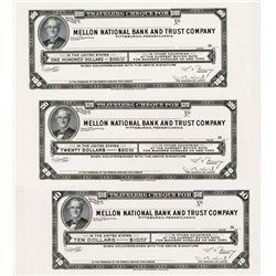 Mellon National Bank & Trust Traveler's Cheque Proof Trio.