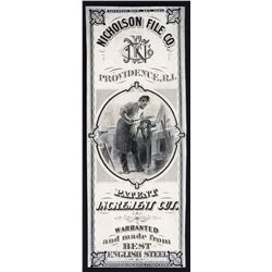 Nicholson File Co. Proof Package Label, 1860's From National BNC Sample Book.