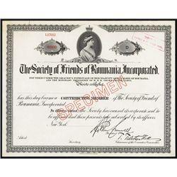 ÒSociety of Friends of RomaniaÓ Specimen Certificate.