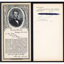 Western BNC Advertising Card with Lincoln Letter to Mrs. Bixby.
