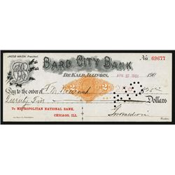 Barb City Bank Issued Check With Barb Wire Letters in Title With RN-X7 Revenue Imprint.