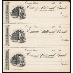 Orange National Bank 1890's Checkbook.