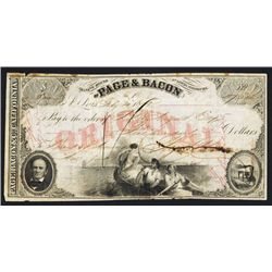 Banking House of Page & Bacon Issued Draft - Gold Rush Related.
